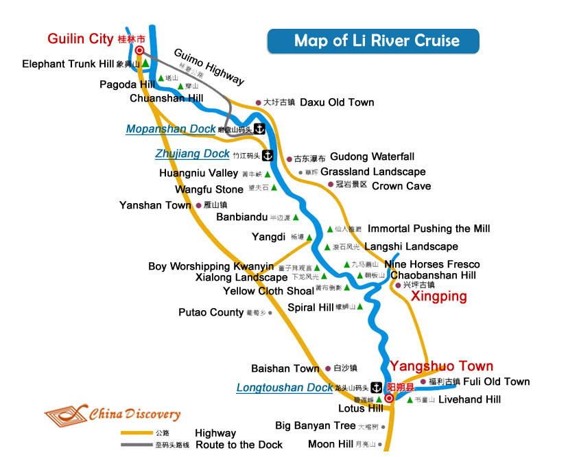 Li River Cruise Map