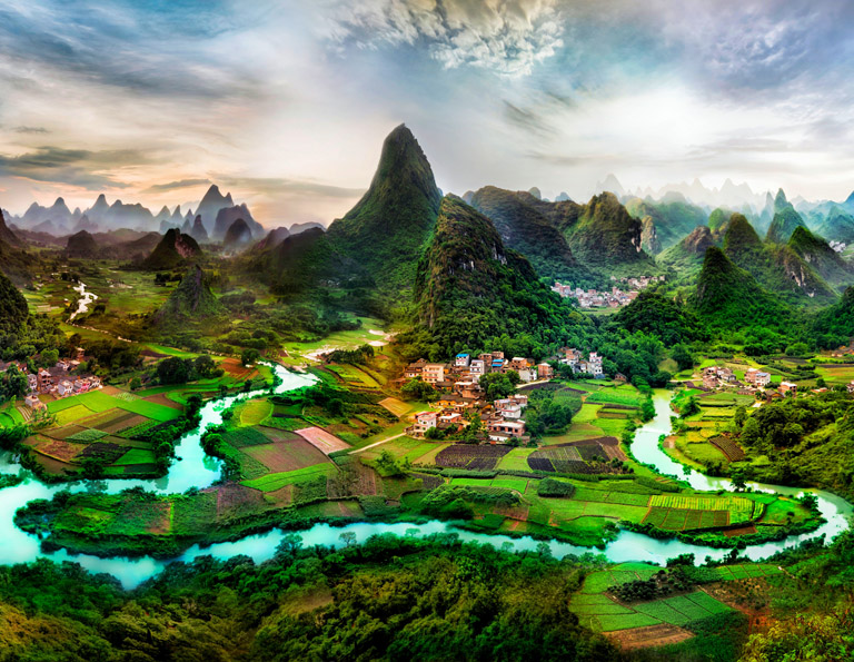 Panoramic View of Yangshuo Town