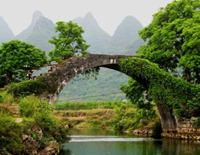 Bridge on the Yulong River in Yangshuo Town