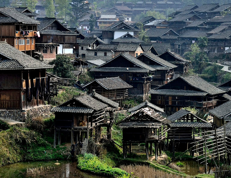 Biasha Miao Village's Wooden Houses