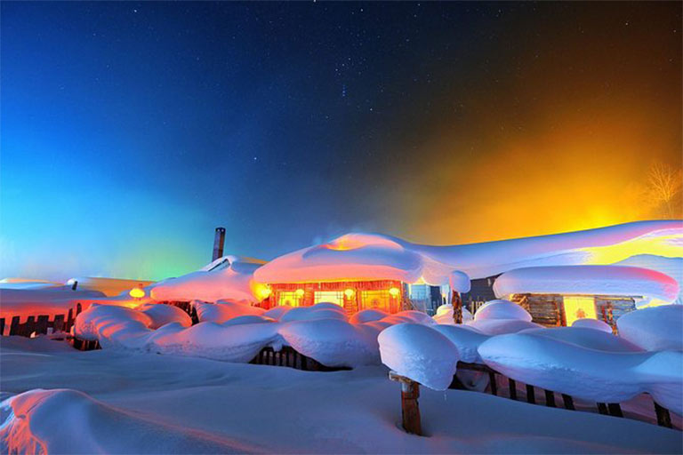 China Snow Town Night View