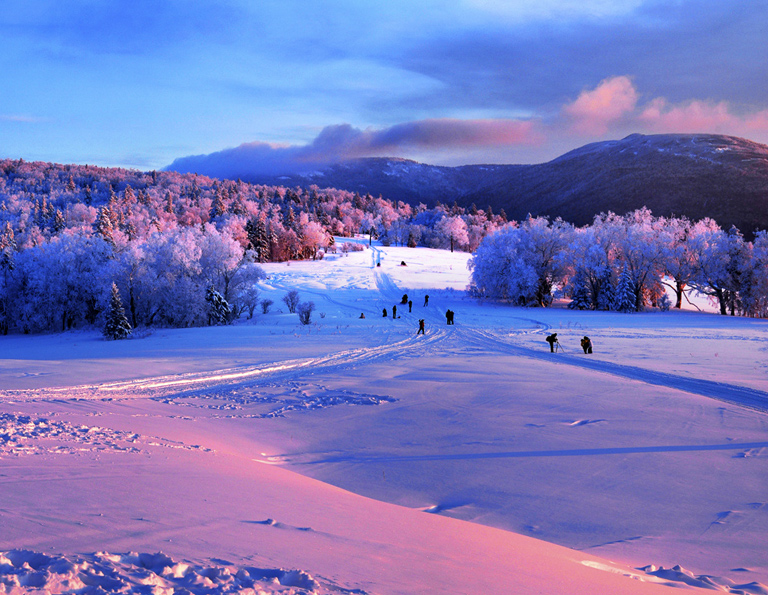 China Snow Town Sunrise