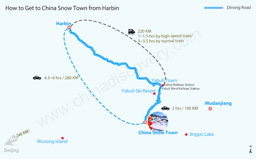 Harbin to China Snow Town Map