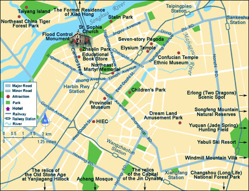 Maps of Harbin detailed and downloadable