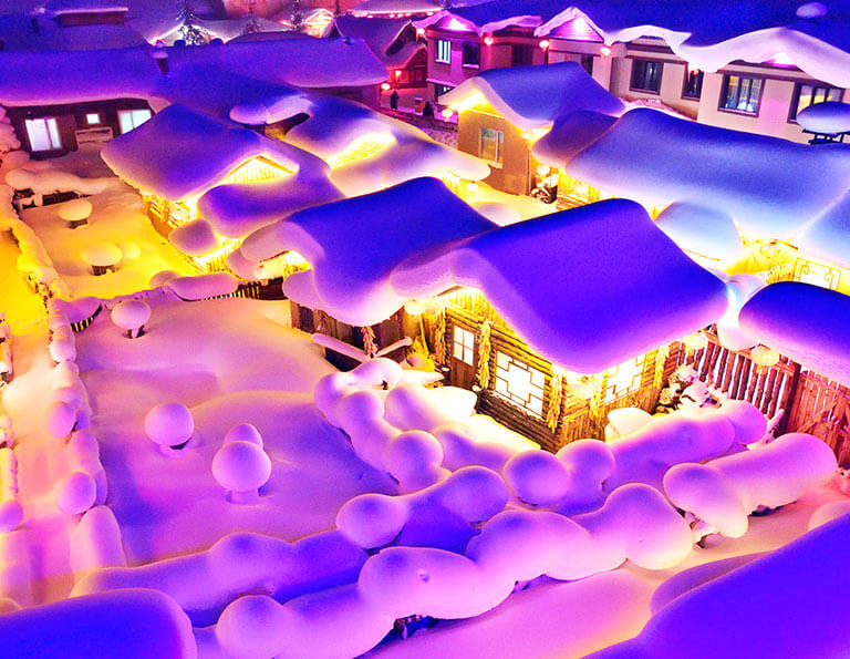China Snow Town Amazing Night View