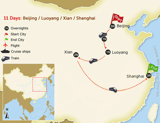 11 days train tour with kungfu map