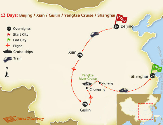 13 days train tour with yangtze map