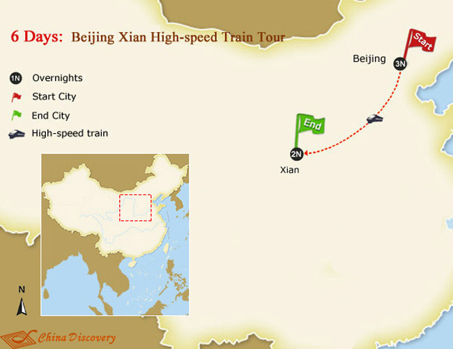 6 days train tour with xian map