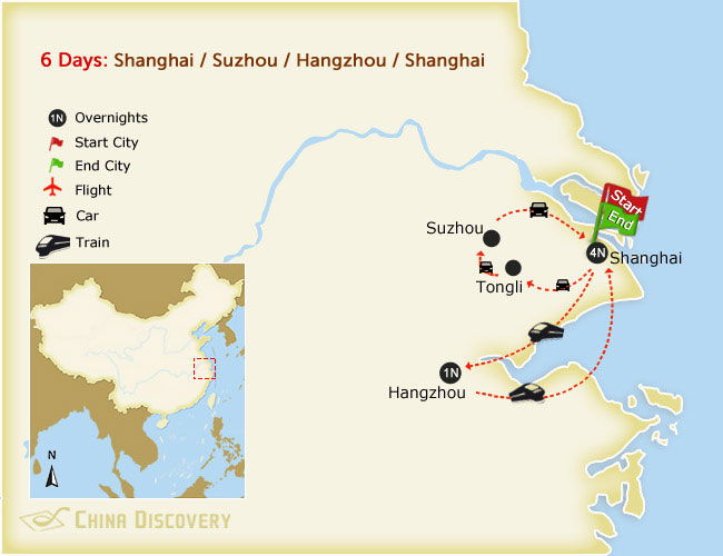 6 Days Splendid East China Tour Map