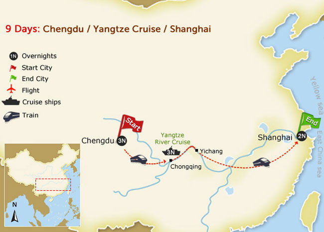 9 days train tour with panda & yangtze map