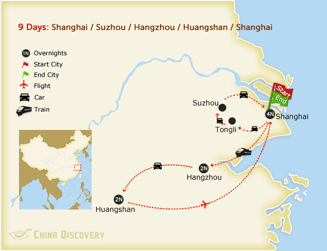9 days train tour with Mt. huang map