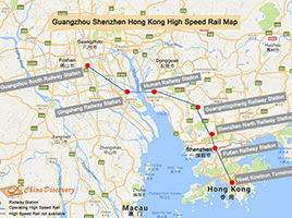 Guangzhou Shenzhen Hong Kong High Speed Railway Map