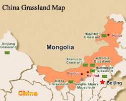 China Inner Mongolia Grassland Map