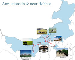 Hohhot Inner Mongolia Attractions Map