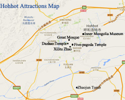Hohhot Attractions Map