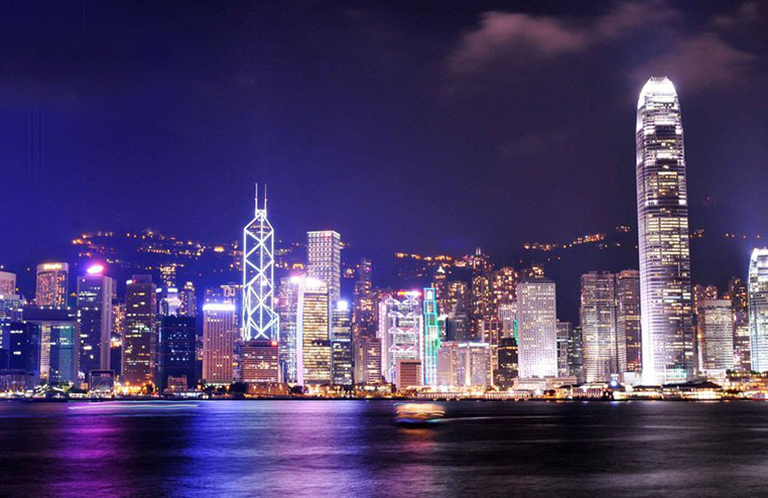 Hong Kong Skyline on Weather Seasons