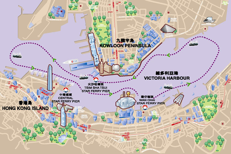 Hong Kong Ferry Map (Star Ferry Piers & Routes)