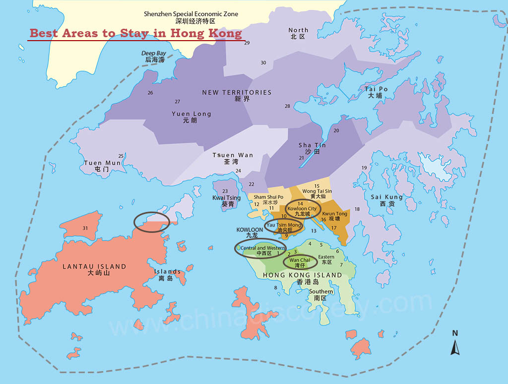 Map of Where to Stay in Hong Kong
