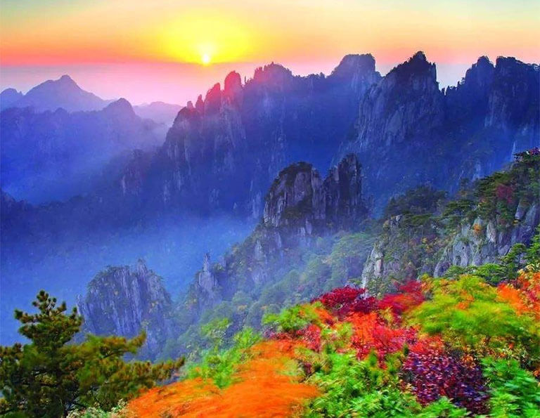 Colorful autumn scenery in Yellow Mountain