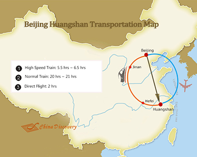 Beijing to Huangshan Map