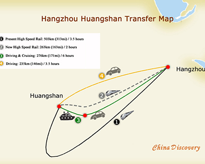 Hangzhou to Huangshan Map