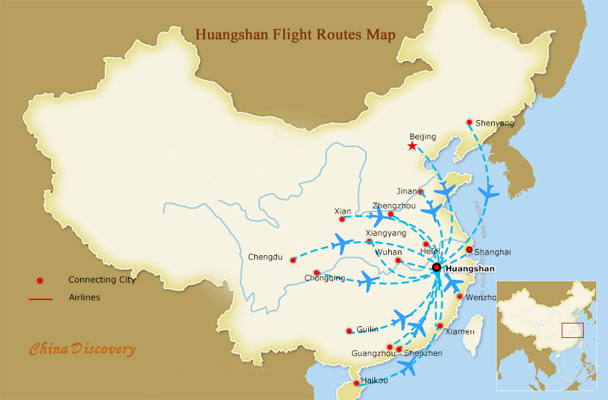 Huangshan Flight Routes Map