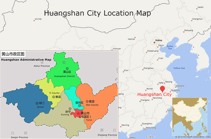 Huangshan City Location Map
