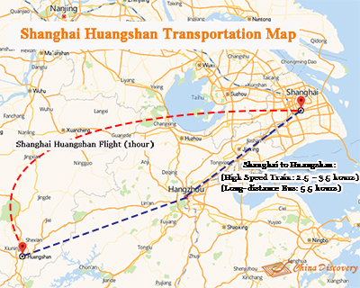 Shanghai to Huangshan Transportation Map