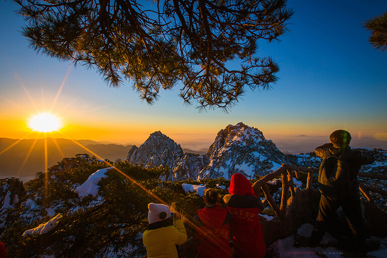 Huangshan Yellow Mountain Winter Sunrise
