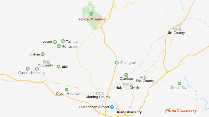 Huangshan Top Villages Location Map