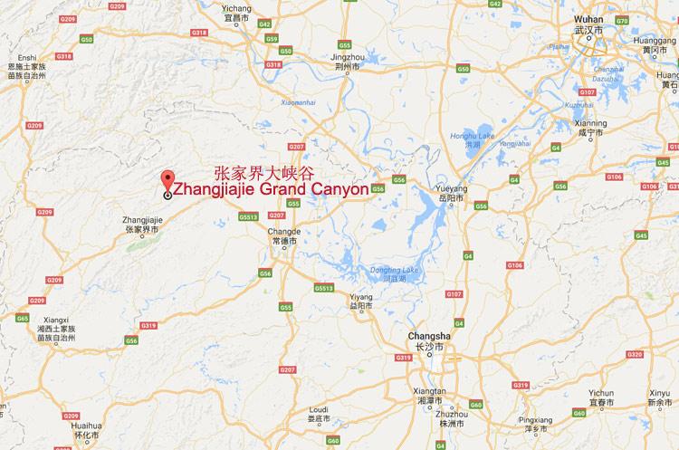 Visit Zhangjiajie Glass Bridge in Zhangjiajie Grand Canyon Map