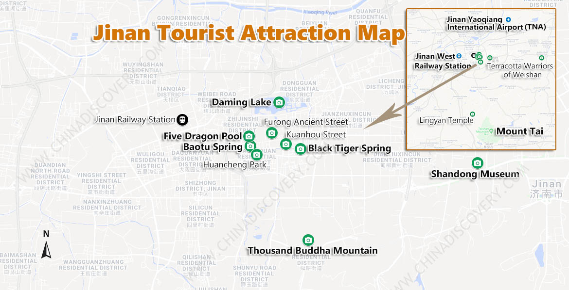 Jinan Tourist Attractions Map