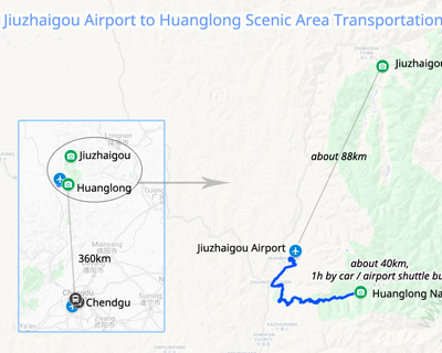 Jiuzhaigou Airport to Huanglong Scenic Area Transportation Map