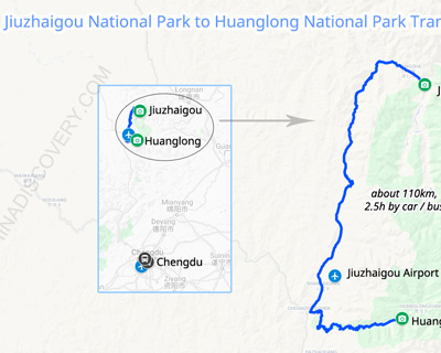 Jiuzhaigou National Park to Huanglong National Park Transportation Map