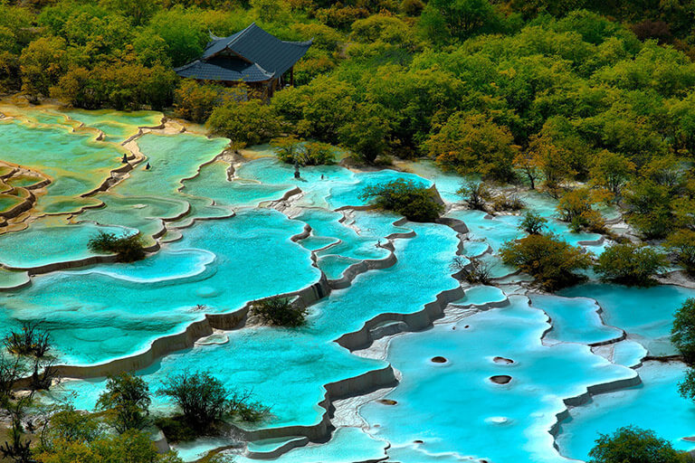 Five-Color Ponds in Huanglong Valley