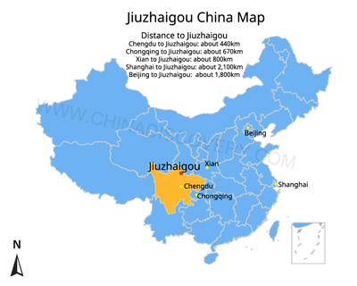 Jiuzhaigou China Map