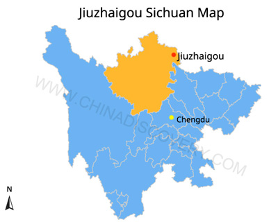 Jiuzhaigou on Sichuan Attractions Map