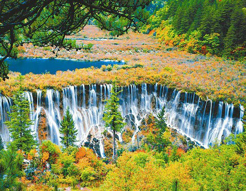 Nuorilang Waterfall is the most magnificent waterfall in Jiuzhaigou