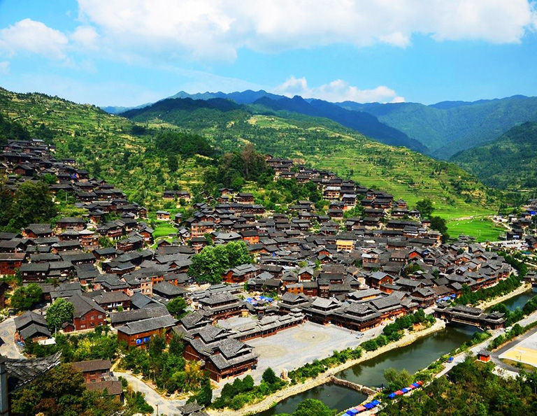 Panoramic View of Xijiang Miao Village