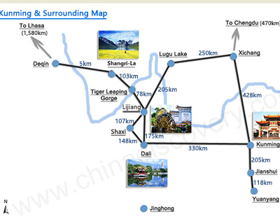 Kunming & Surrounding Distance Map