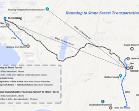 Kunming to Stone Forest Map