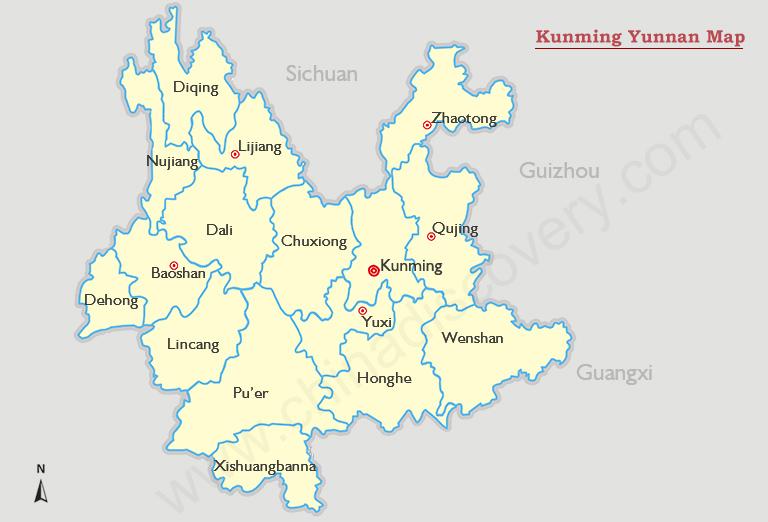 Kunming Map Map Of Kunming China Kunming Attractions - Baoshan map