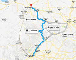 Chengdu to Lanzhou Transportation Map