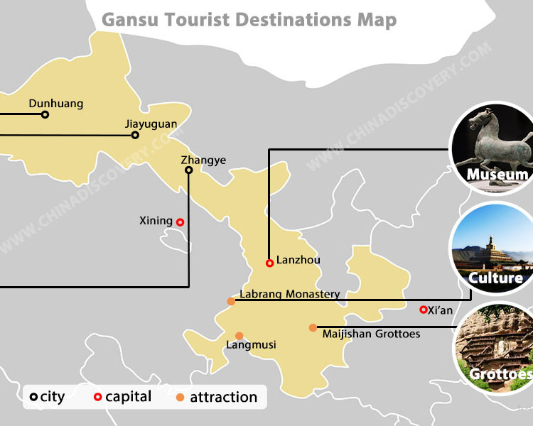 Lanzhou Gansu Tourist Map
