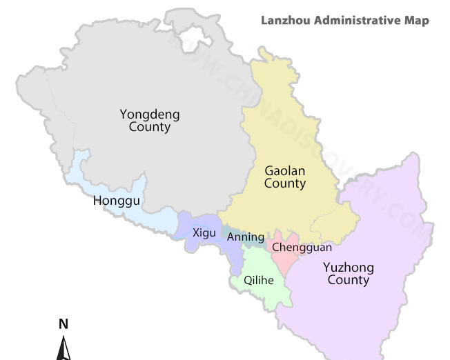 Lanzhou Administrative Map