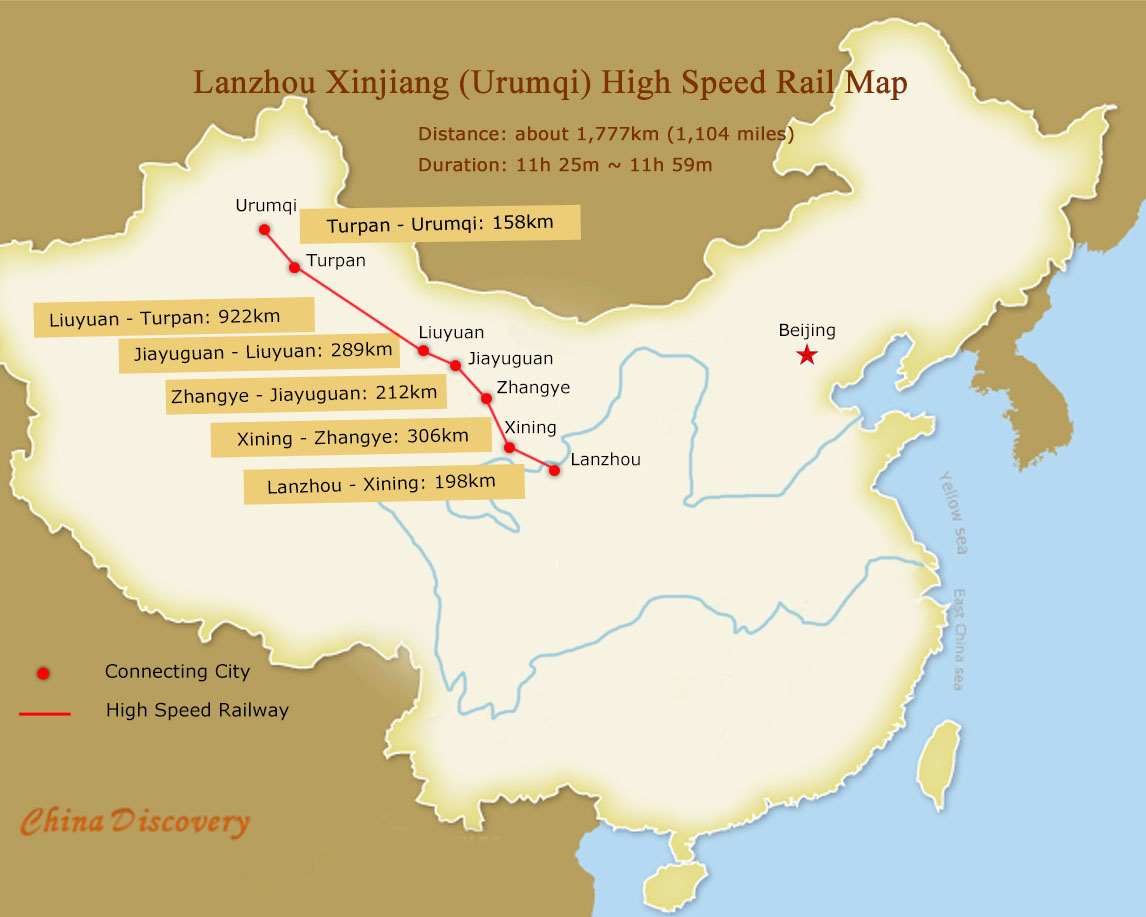 Lanzhou Xinjiang (Urumqi) High Speed Rail Map