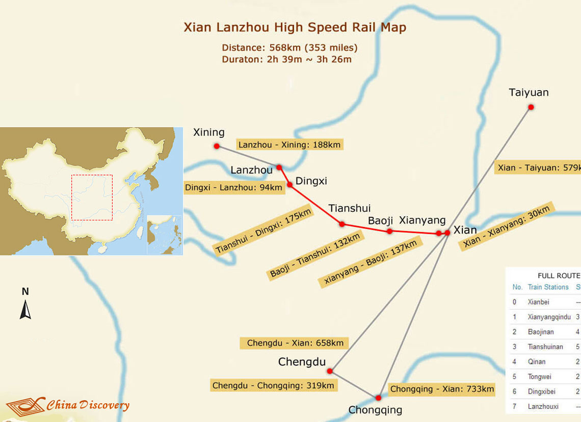 Xian Lanzhou High Speed Train Route Map