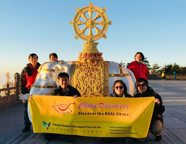 Our dear clients from Singapore on Golden Summit of Mount Emei