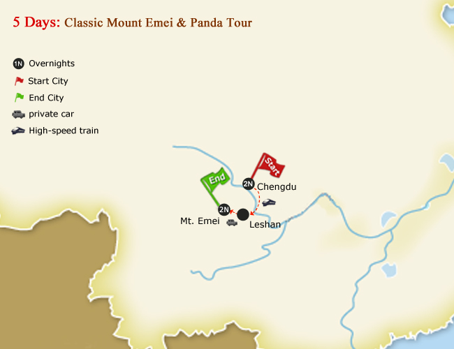 5 Days Classic Mount Emei & Panda Tour