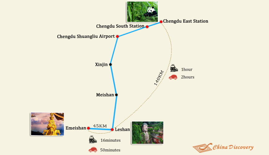 Travel Map of Chengdu Leshan
